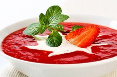 Strawberry Sweet Soup is a delicious Continental recipe served as a Dessert. Find the complete instructions on Bawarchi Sweet Soup, Dessert Bowls, Yogurt, Food Processor Recipes, Panna Cotta, Strawberry, Menu, Pudding, Ethnic Recipes