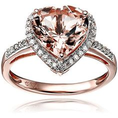 10k Rose Gold Morganite and Diamond Heart Halo Engagement Ring . Available at http://www.Brandinia.com