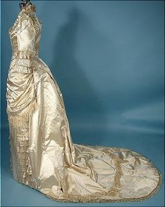 c. 1880 Wedding Gown of Ivory Silk Satin Trimmed in Silk Floss Fringe!  2-piece Gown with Extreme Long Pointed Bodice!