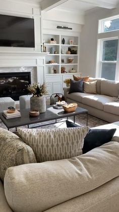 Living room decor, full size couches, shelf styling, throw pillows Small Living Room Layout, Living Room Decor Cozy, Living Room Seating, New Living Room, Interior Design Living Room, Living Room Sofa, Living Room With Beige Couch, Living Room Ideas With Tv, Beige Couch Decor