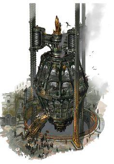 Zaun - Regions - Universe of League of Legends Design Steampunk, Steampunk City, Ville Steampunk, Fantasy City, Sci Fi Fantasy, Fantasy World, League Of Legends, Arte Sci Fi, Sci Fi Art