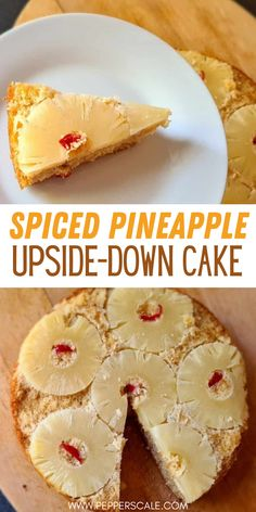 This spiced pineapple upside-down cake recipe adds just a little kick to the popular dessert. There's cayenne pepper powder in the cake batter, but that's not all. We add a few candied jalapeños here to add a delicious sweet bite (and lovely color) to the recipe. #pineapple #pineappleupsidedowncake #pineappleupsidedowncakerecipe #spicedpineapple