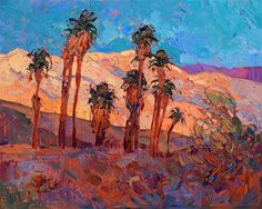 Palm Springs modern impressionism landscape oil painting for sale by Erin Hanson