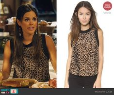 Zoe's sleeveless leopard print top on Hart of Dixie.  Outfit Details: http://wornontv.net/45334/ #HartofDixie