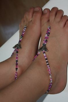 Barefoot Sandals Pink and Black with Butterflies for Girls