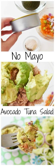 No Mayo Avocado Tuna Salad-A creamy, and flavor-packed tuna salad recipe that is low carb and uses no mayonnaise. This is a Daniel Plan inspired recipe.