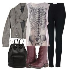 A fashion look from December 2015 featuring shirt top, collar jacket and topshop jeans. Teen Wolf Outfits, Bad Girl Outfits, Oufits Casual, Cute Casual Outfits, Casual Clothes, Girl Fashion, Fashion Outfits, Fashion Black, Fantasy Dress