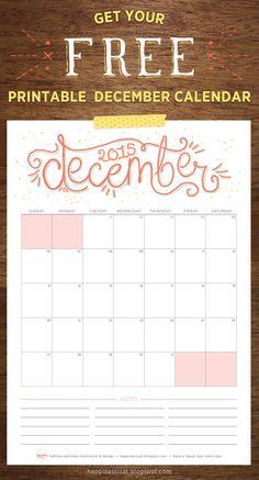 Happiness is... December 2015 Free Printable Calendar