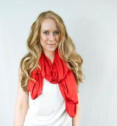 Red Orange Cayenne Pantone Scarf Infinity Spring Lightweight Fashion Accessories Women by ForgottenCotton