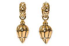 Vintage Loewe Gold & Pearl Drop Earrings