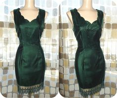 $39.99 #Vintage #80s Green Velvet Cocktail Party Wiggle #Dress 11 /12 M/L Crochet Trim #VCAT #VINTAGELOVE by IntrigueU4Ever, $39.99