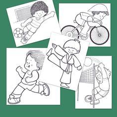 heel veel eenvoudige kleur- werkbladen en picto's voor jonge kinderen Montessori Education, Teacher Education, Physical Education, Coloring Pages For Boys, Colouring Pages, Book Activities, Preschool Activities, Vive Le Sport, Pe Ideas