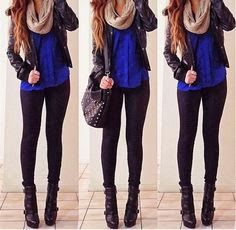 Blue and black combo outfits for winter | Fashion World