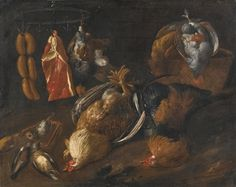 Tuscan School, 17th Century  A STILL LIFE WITH GAME AND MEATS HANGING ON A RAIL WITH OTHER BIRDS IN A BASKET A.jpg (2000×1589)