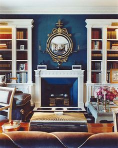 Peacock Blue Living Room - I love the wall color. I must NOT have a neutral wall color. An accent wall is at least required. Home Living, My Living Room, Living Spaces, Stil Inspiration, Interior Inspiration, Bedroom Inspiration, Murs Turquoise, Dark Blue Living Room, Dark Rooms