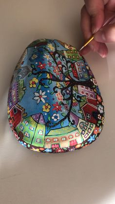 Welcome to my world of colours painted rock by Christine Onward - Rock Kunst - fun craft Rock Painting Patterns, Rock Painting Ideas Easy, Rock Painting Designs, Paint Designs, Pebble Painting, Dot Painting, Pebble Art, Stone Painting, Stone Crafts