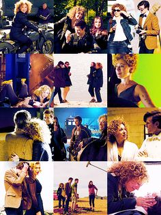 Alex Kingston as River Song, Matt Smith as the Doctor. Doctor Who behind the scenes.