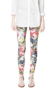 Floral Leggings - ZARA