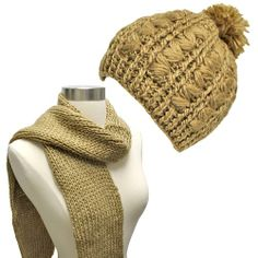 Luxury Divas Beige Warm Winter Thick Knit Beanie Cap   Scarf Two Piece Set  at Amazon Women s Clothing store  Cold Weather Scarves a5ed11deded1