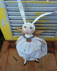 Primitive Angel Rabbit Dollie by Rabbithollowprims on Etsy, $59.95