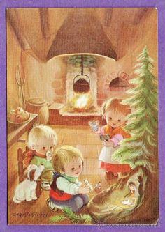 Christmas Photos, Vintage Christmas, Christmas Time, Christmas Cards, Xmas, Dog Wallpaper, Spanish Artists, Winter Kids, Illustrations