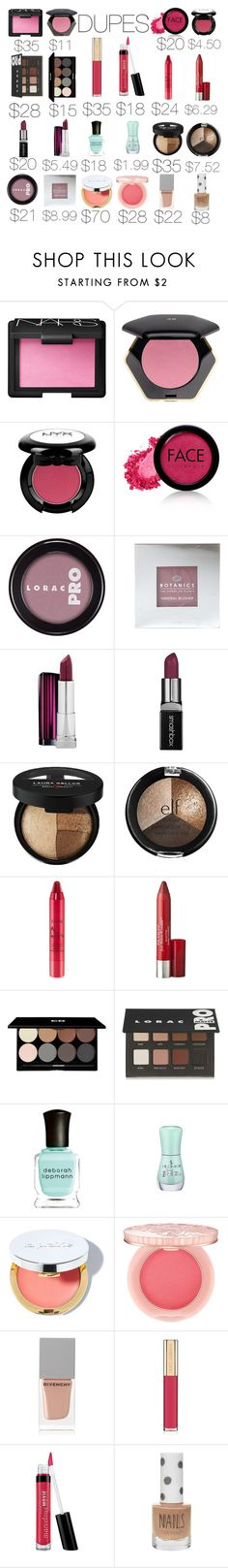 """Luxury Makeup Dupes"" by lilymadelyn ❤ liked on Polyvore featuring beauty, NARS Cosmetics, H&M, FACE Stockholm, LORAC, Smashbox, Laura Geller, tarte, Revlon and Edward Bess"