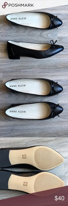 Anne Klein black flats with bow NWOT Anne Klein black flats with bow NWOT. These are absolutely gorgeous! Love the bow. The materials feels like leather but I am unsure. Very comfortable. No wear or tear. Only tried them on. Anne Klein Shoes Flats & Loafers