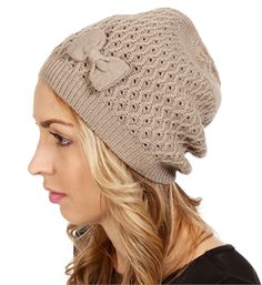 Taupe Bow Knit Beanie