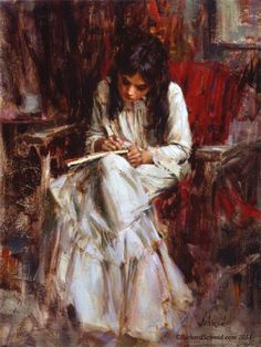 """THE DRAWING""  oil painting by Richard Schmid  http://www.RichardSchmid.com"