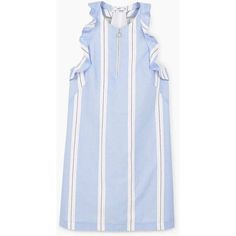 MANGO Striped ruffle dress (545 CNY) ❤ liked on Polyvore featuring dresses, frill dress, blue dress, mango dresses, striped cotton dress and flouncy dress