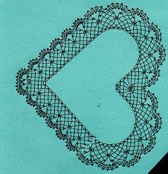 Bobbin Lace Patterns, Doily Patterns, Heart Patterns, Crochet Cat Pattern, Crochet Motif, Crochet Patterns, Lacemaking, Lace Heart, Point Lace