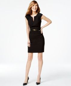 Calvin Klein Buckled Sheath Dress $109.00 Amp up your career look with Calvin Klein's haute sheath dress, detailed with a gold-tone buckle and a chic zipper closure.