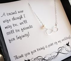 Bridesmaid thank you card with infinity necklace by BriguysGirls, $30.50