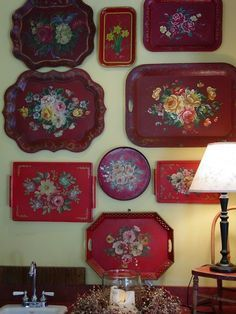 Vintage red tole trays.
