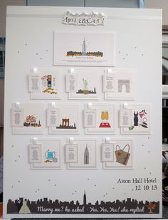 Very large New York City themed wedding table plan in stunning white.