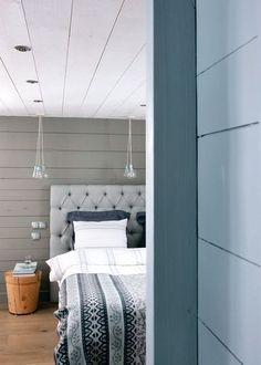 Grey, blue and white cosy bedroom