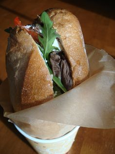 "The WHB Special - Food52 - Inspired by Portland Street Food Cart Wet Hot Beef's ""The Indecent"" - Roast Beef Au Jus Sandwich with a twist- Peppery Arugula, Roasted Peppers & Creamy Goat Cheese take this sandwich to a whole new level - great recipe"