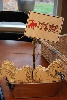 Room to Inspire: Cowboy and Cowgirl Birthday Party - Something for older kids to do Myers Myers Posvar - this could be a fun activitiy, wonder if Joann's has horses? Horse Theme Birthday Party, Horse Party, Cowgirl Birthday, Farm Birthday, Birthday Party Games, 6th Birthday Parties, Cowgirl Party Games, Birthday Ideas, Western Party Games