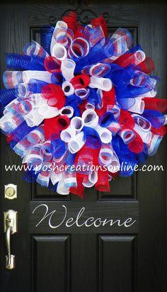 Spring Mesh Wreath, Mesh Wreath, Summer Mesh Wreath,  4th of July Wreath, Spiral Wreath, Patriotic wreath via Etsy