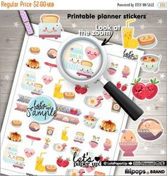 60%OFF - Breakfast Stickers, Printable Planner Stickers, Food Stickers, Cute Stickers, Erin Condren, Planner Accessories, Meal Stickers, Fun
