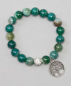 This Silver & Green Agate Tree of Life Stretch Bracelet by Jewelry by AMN is perfect! #zulilyfinds