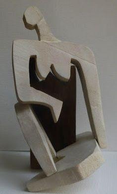 Fernan como escultor: Mujer - cuatro piezas de madera de abedul