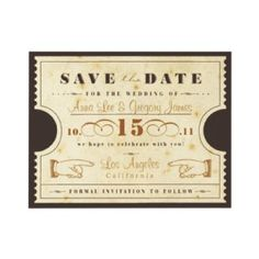 Shop Vintage Ticket Save the Date Postcard created by LetterBoxInk. Personalize it with photos & text or purchase as is! Save The Date Invitations, Invitation Paper, Vintage Wedding Invitations, Invitation Design, Invites, Invitation Mockup, Event Invitations, Wedding Stationery, Birthday Invitations