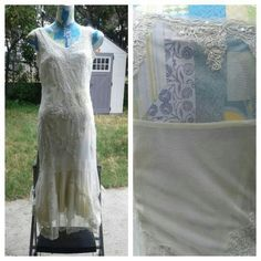 """Dress In good condition. Off white color with detail. Needs some TLC. Picture #4 shows the bottom of the dress being torn. It accidentally caught on to my heel. The lining needs to be dry cleaned. The back bottom is Slightly longer than the front kind of like a mermaid style dress. Can be used as a wedding dress. Polyester. Front of the dress from shoulder to bottom is about 45"""". Back of the dress is about 51"""" from shoulder to bottom of the dress. Newport News Dresses"""