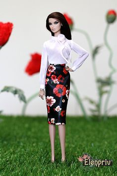 ELENPRIV Black poppy printed leather SKIRT for Fashion royalty FR2 Color Infusion, NuFase and similar body size dolls.