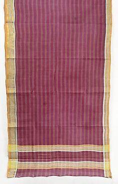 Zari Fabric Striped Purple Saree Vintage Indian Textile Crafting Drapery Sari