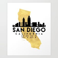 SAN DIEGO CALIFORNIA SILHOUETTE SKYLINE MAP ART - The beautiful silhouette skyline of San Diego and the great map of California in gold, with the exact coordinates of San Diego make up this amazing art piece. A great gift for anybody that has love for this city. graphic-design digital typography illustration vector san-diego california downtown silhouette skyline map coordinates gift art souvenir