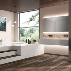 Viatera® - Collections   LG Hausys Sink Inspiration, Color Inspiration, Warm Colors, All The Colors, Modern Baths, Grey And Gold, Flooring, Mirror, Bathroom