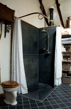 Hot-rolled steel shower stall.