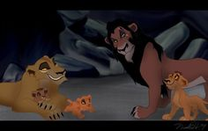 Scar and Zira with their cubs, Kovu, Vitani, and Nuka.